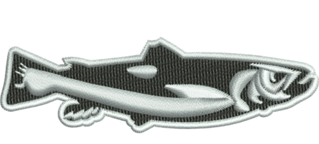 Black and white Fish embroidery design