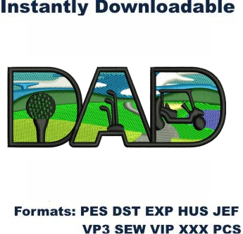 Golfer Dad Embroidery Designs