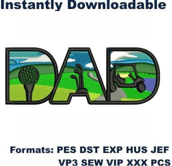 Golfer Dad Embroidery Designs