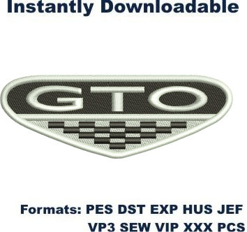 Gto car logo embriodery design