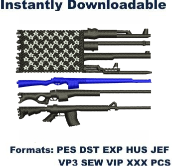 Back The Blue Gun Flag Embroidery Designs