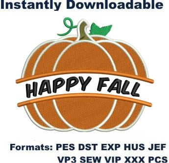 Happy Fall Pumpkin Embroidery Designs