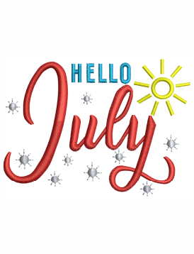 Hello July Embroidery Designs