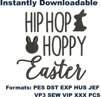 Hip Hop Hoppy Easter Embroidery Designs