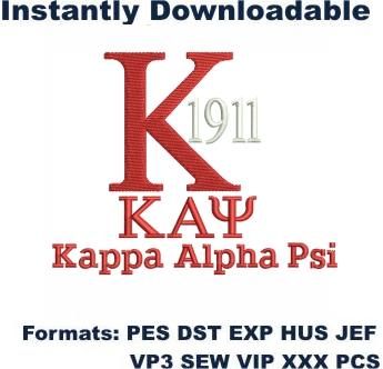 Kappa Alpha Psi Logo Embroidery Design