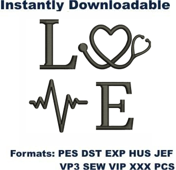 Love Nurse Embroidery Designs
