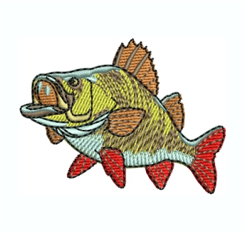 Perch Fish Embroidery Design