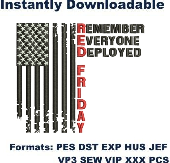 Red Friday Flag embroidery design
