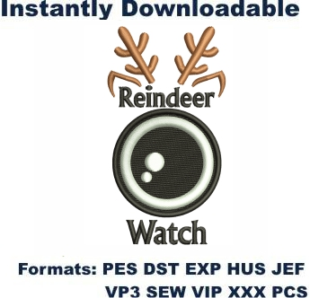 Reindeer Watch Embroidery Designs