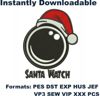 Santa Watch Embroidery Designs