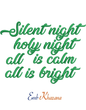 Silent Night Christmas Song Embroidery Designs