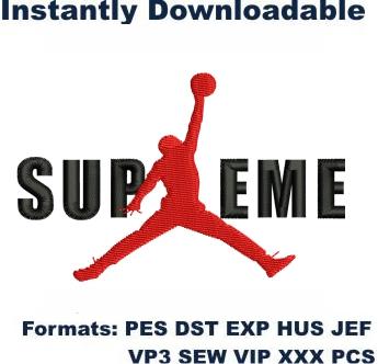 Supreme Jordan Logo Embroidery Design