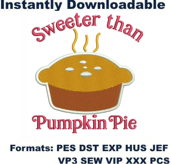 Sweeter Than Pumpkin Pie Embroidery Designs