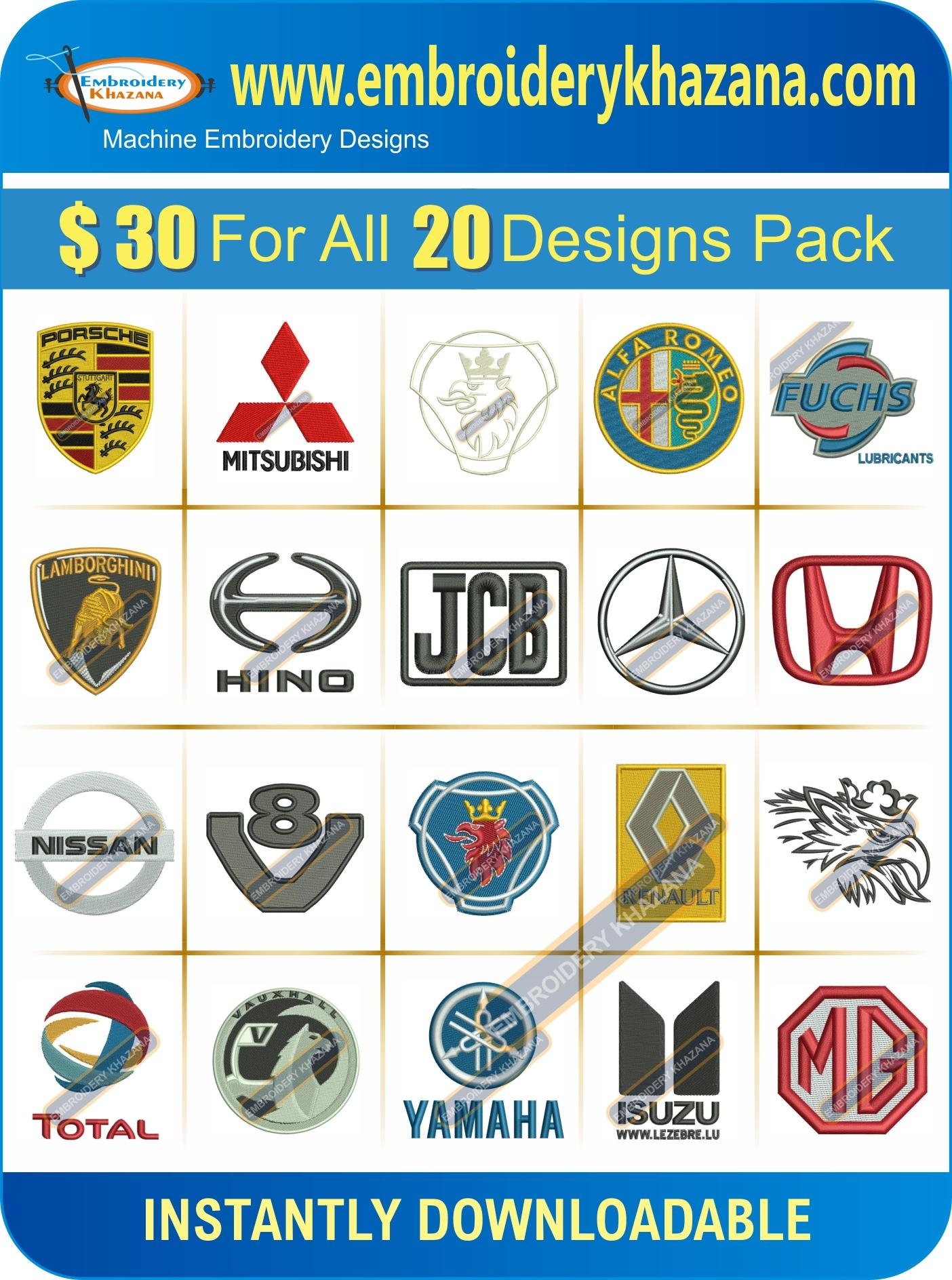 TRUCK COMPANY LOGOS EMBROIDERY DESIGNS SET 1