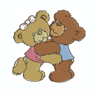 Teddy Bears Hugging Embroidery Design