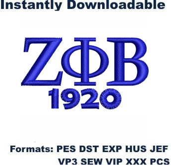 Zeta Phi Beta Embroidery Design