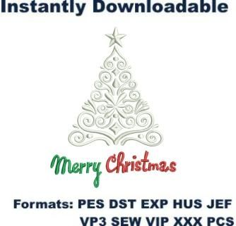 Merry Christmas Tree Embroidery Designs