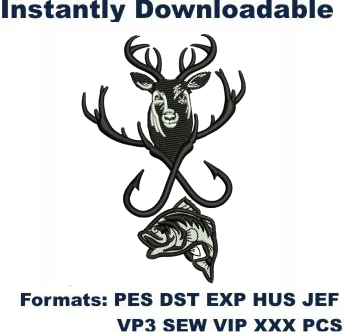 Hunting And Fishing Embroidery Designs