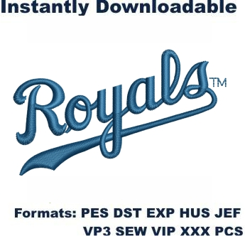 KC Royals Baseball Logo Embroidery Design