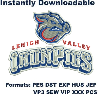 lehigh valley ironpigs embroidery design
