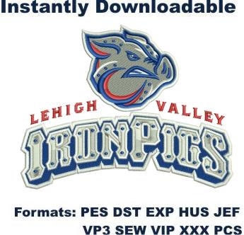 lehigh valley ironpigs embroidery design