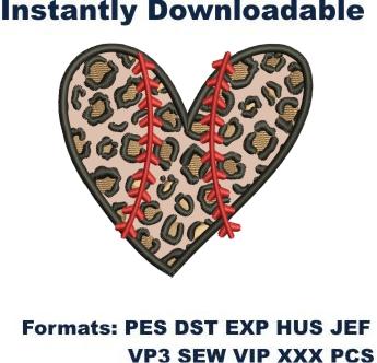 leopard baseball heart applique embroidery design