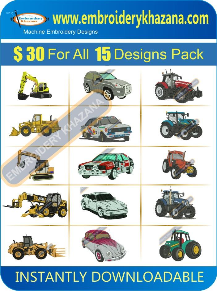 Tractor Car And Jcb Designs Pack